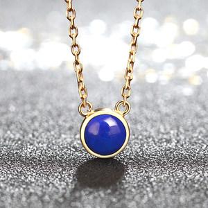 撒哈拉宝石简约天然青金石项链女 925银时尚气质生日礼物锁骨链