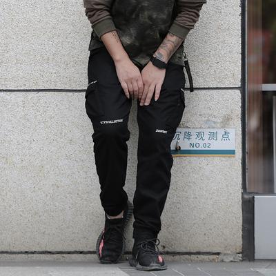 国潮个性休闲裤大码小脚哈伦裤潮牌嘻哈男束脚裤胖子加肥加大长裤