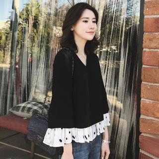 欧货很仙的上衣百搭时尚打底衫女显韩版超仙洋气小衫女秋冬