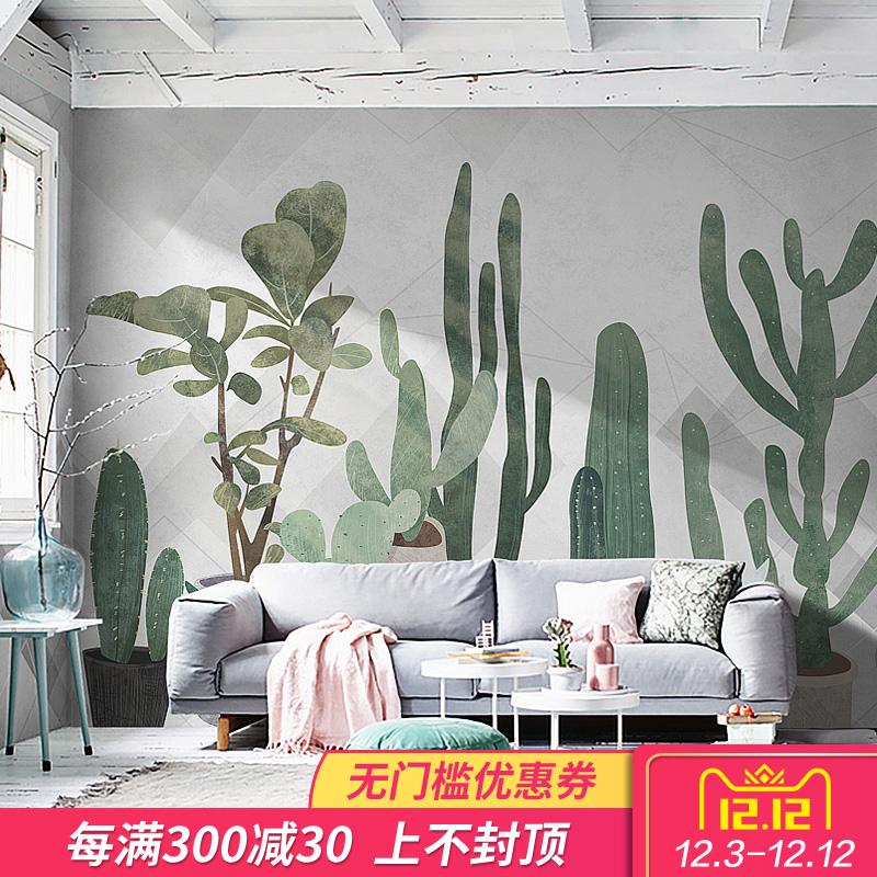 西诺ins仙人掌背景墙壁纸 客厅艺术沙发墙手绘壁画清新北欧风墙纸