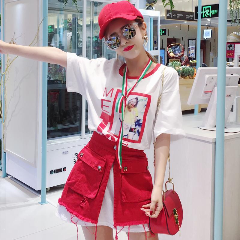 红色套装裙包臀