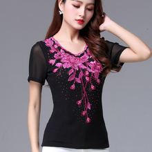 New Mid-aged Women's Large-Size Embroidered Top for Summer 2009 Mother's Mesh Embroidered T-shirt with Short Sleeves