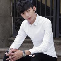 薄款夏季白衬衫男士长袖休闲衬衣男青年夏天防晒韩版潮流纯色寸衫