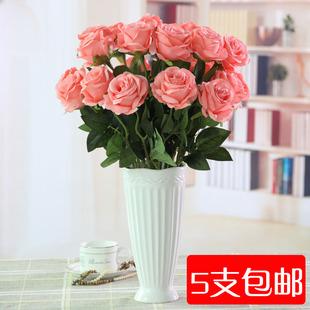 特价单支玫瑰花 仿真花绢布假花客厅餐桌落地装饰花花束 5支包邮