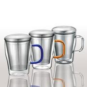 邦田三件杯泡茶杯办公室彩色手把玻璃杯茶杯不锈钢全过滤泡花茶杯