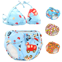 Baby swimming trunks, baby swimming suits, repeatable washable 0-3 waterproof and leak-proof baby girls, 1 year old