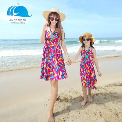 三只鲸鱼母女亲子装沙滩裙棉吊带裙短裙一家三口全家装男沙滩裤