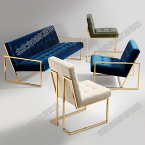 铁艺双人三人沙发组合 北欧简约loft单人创意布艺沙发特价茶几