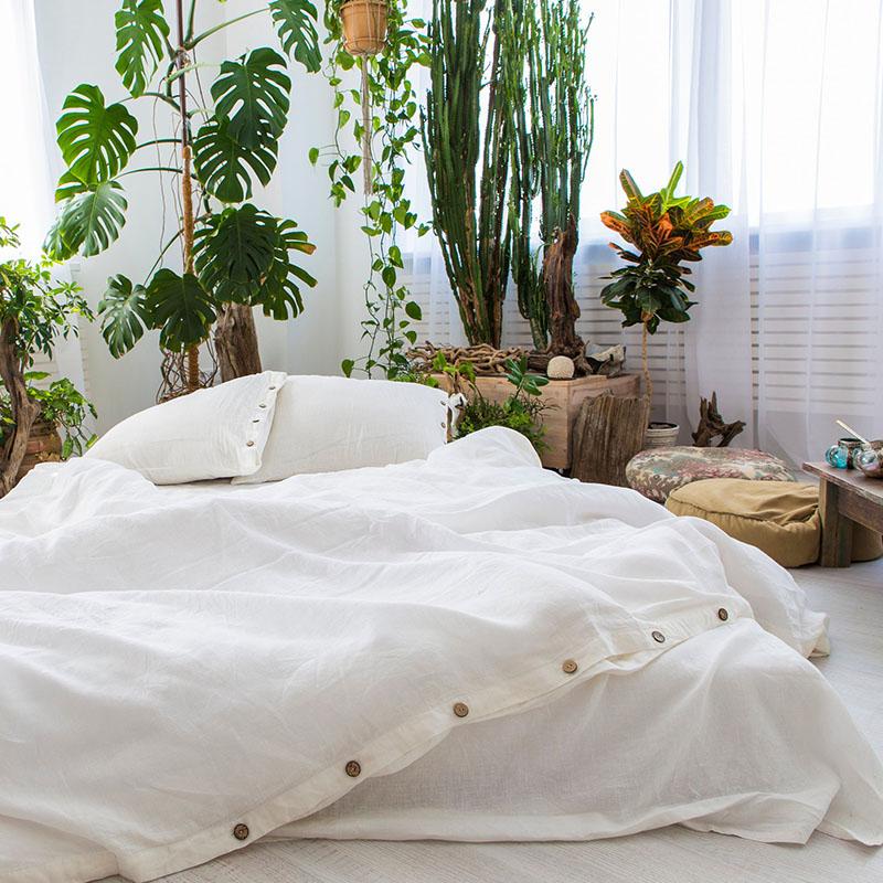 微馨亚麻 纯麻被套四件套欧式风格扣子款法式床上四件套定做家纺