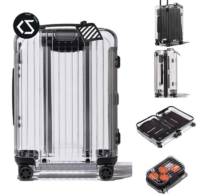 OFF-WHITE RIMOWA OW 日默瓦联名透明 行李箱 登机箱 旅行拉杆箱