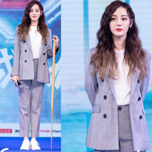 Dili Reba Star's Same Fashion Suit, Suit, Coat, Grey Chequered Suit, Professional Suit and Trousers Two-piece Suit