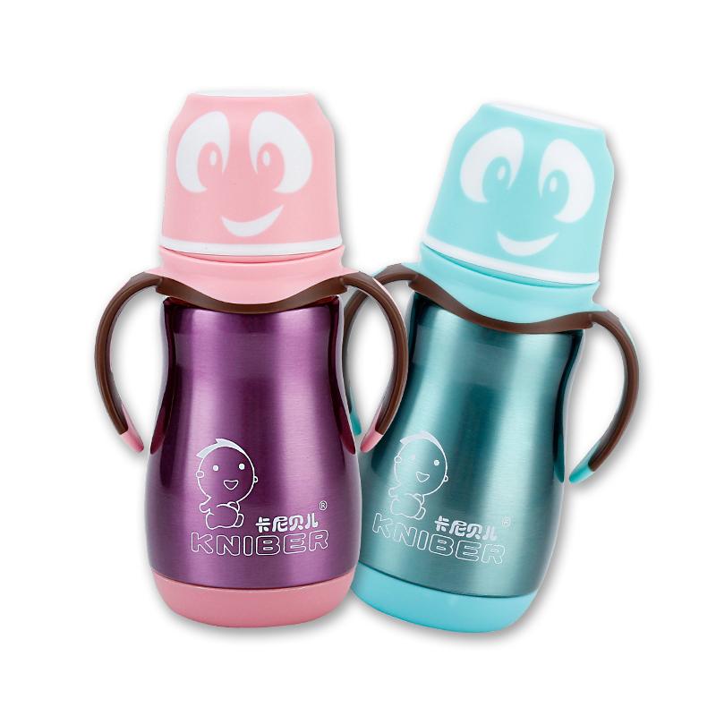 卡尼贝儿保温奶瓶不锈钢正品新生婴儿防摔胀气宽口径宝宝保温杯