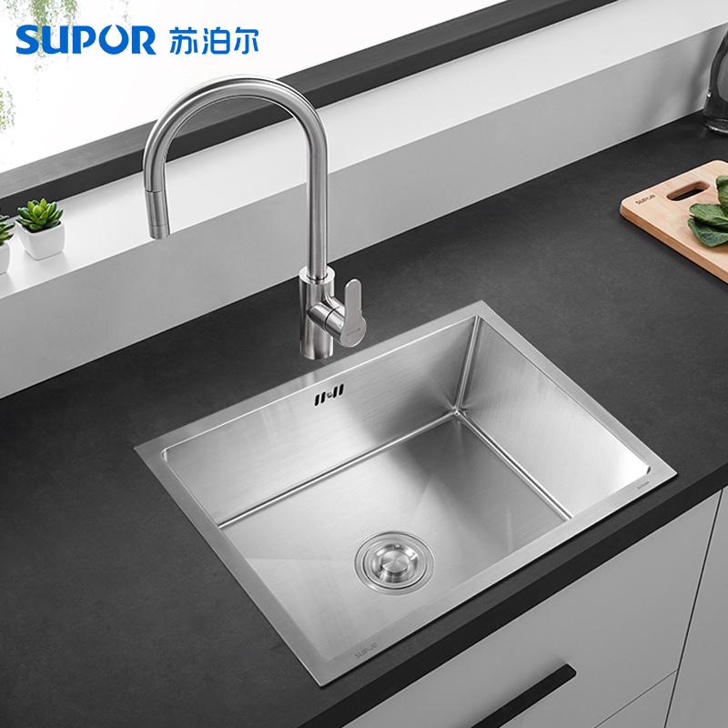 不锈钢单槽厨房带水龙头加厚洗菜盆 304 苏泊尔手工水槽套餐