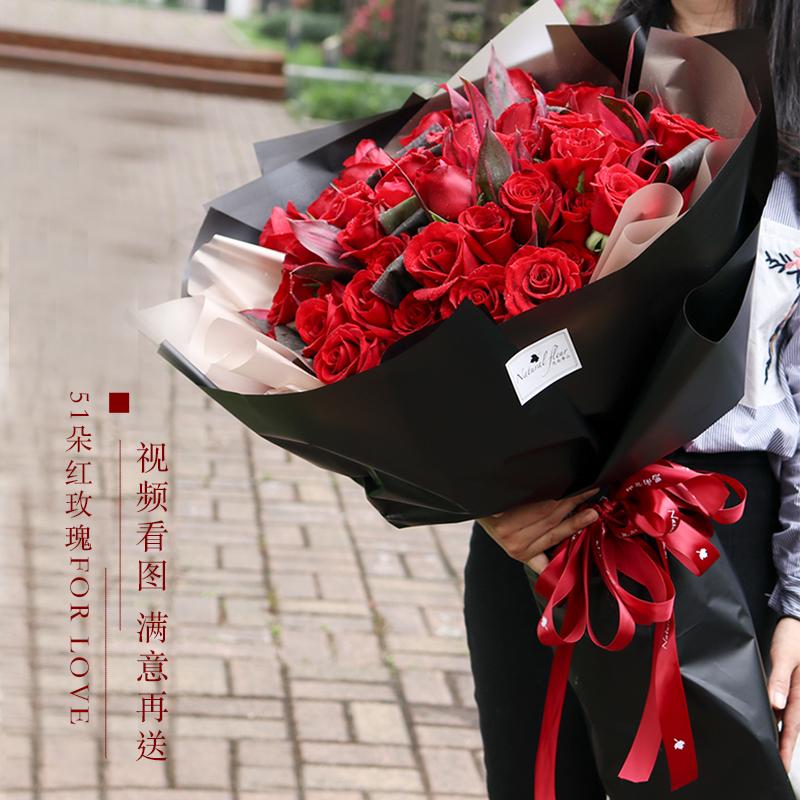 红玫瑰花99朵同城爱人生日求婚花束情人节鲜花速递上海订花店送花