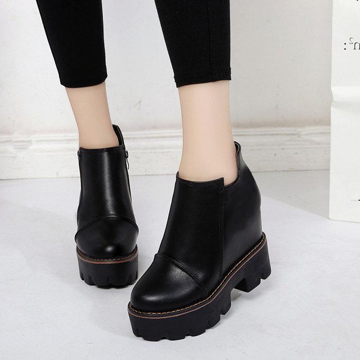 厚底防水台短靴女冬