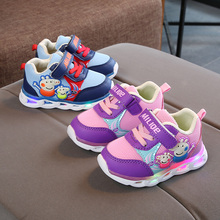 Winter models plus velvet lights autumn children's shoes female baby breathable toddler sports 1-2 years and a half 3 boys soft bottom shoes non-slip