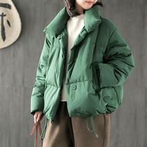 小耳出品 2018冬季新款 短款轻薄羽绒服女 高领纯色宽松大码外套G
