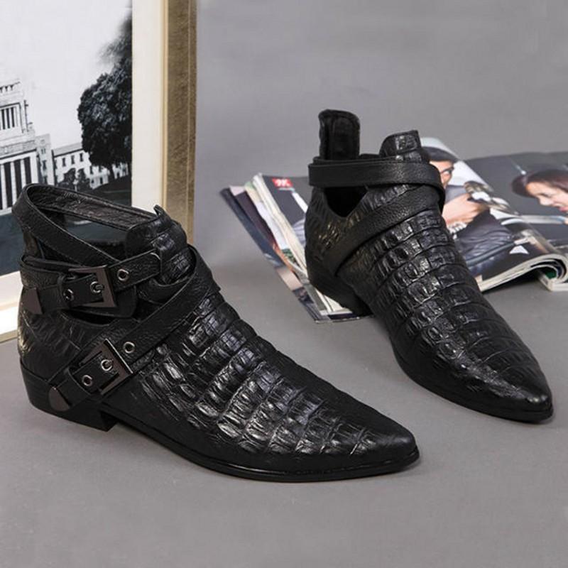 新款尖头粗跟真皮时尚欧美网红瘦瘦女士马丁镂空春秋踝短靴深口鞋