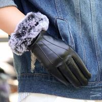 秋冬季PU皮手套女士加绒加厚保暖骑车水洗皮手套触摸屏薄款修手