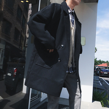@港仔文艺男 日系潮流男士翻领毛呢大衣冬季新款青年外套个性风衣