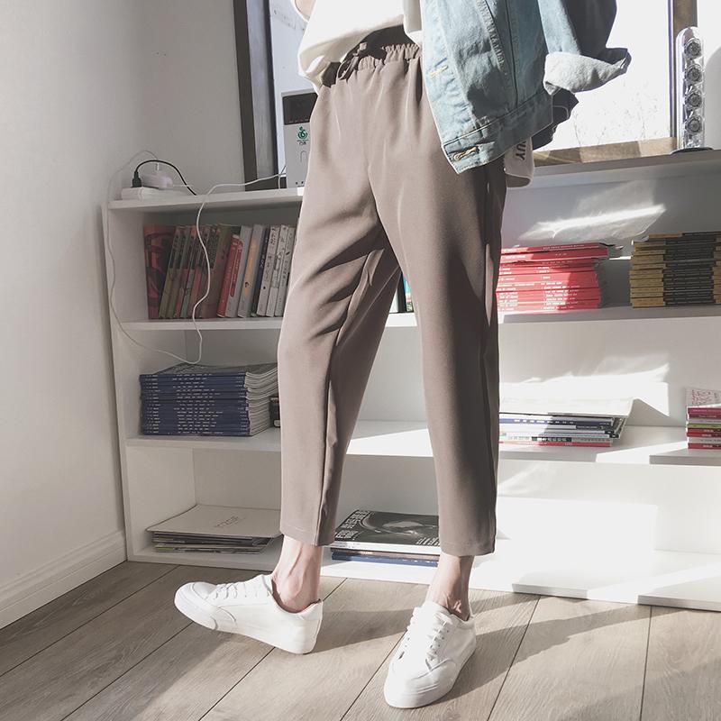 休闲棕色长裤