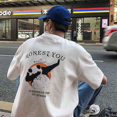 @港仔文艺男 夏季ins风潮流短袖T恤男生情侣韩版嘻哈半袖宽松上衣