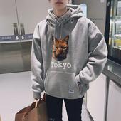 @港仔文艺男 bf风韩版潮流男士卫衣春季连帽卡通印花学生运动外套