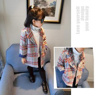 女童格纹大衣 儿童韩版上衣2017新款童装冬装 女宝宝大衣外套加厚