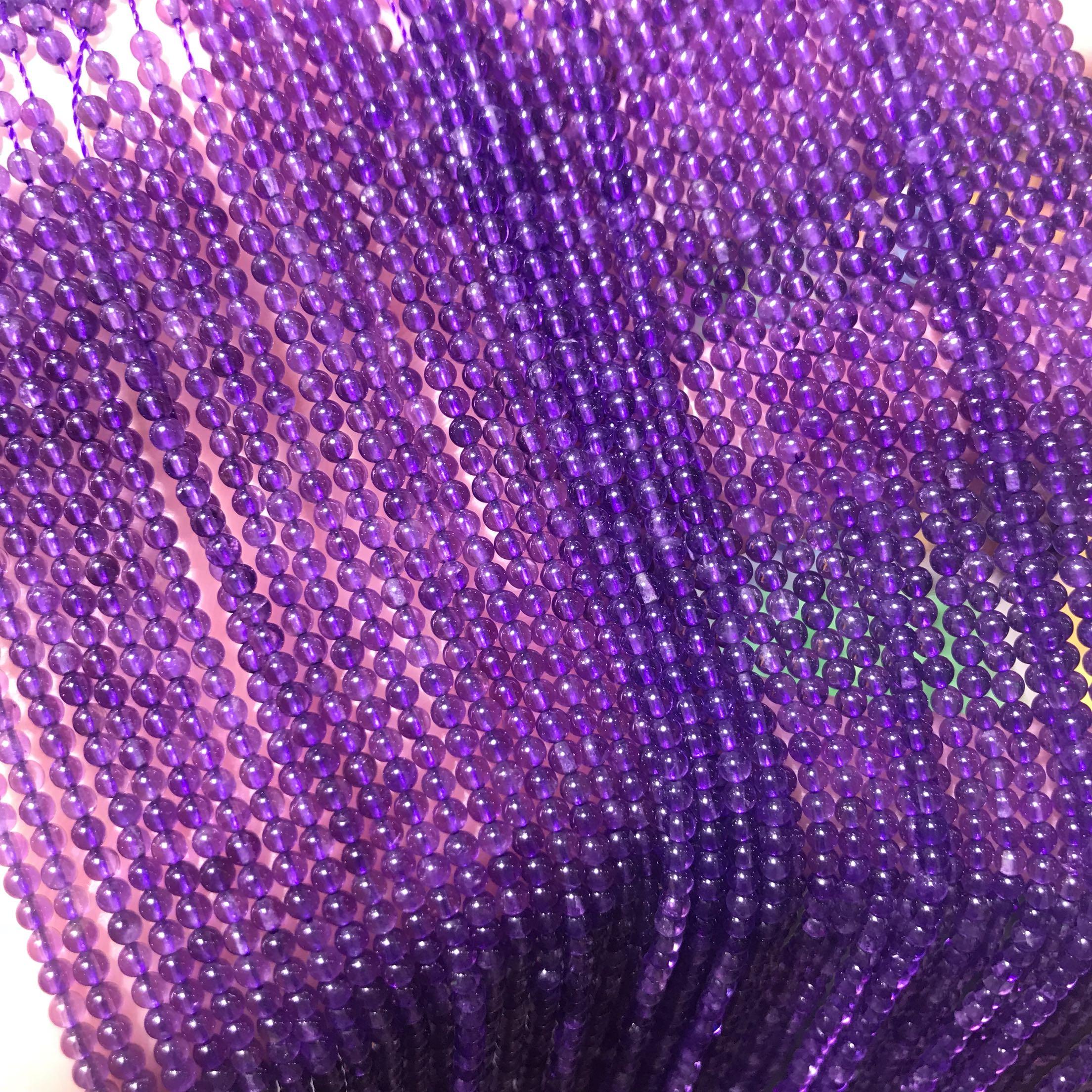 纯天然乌拉圭紫水晶圆珠小颗粒半成品散珠米珠隔珠串珠穿手链项链
