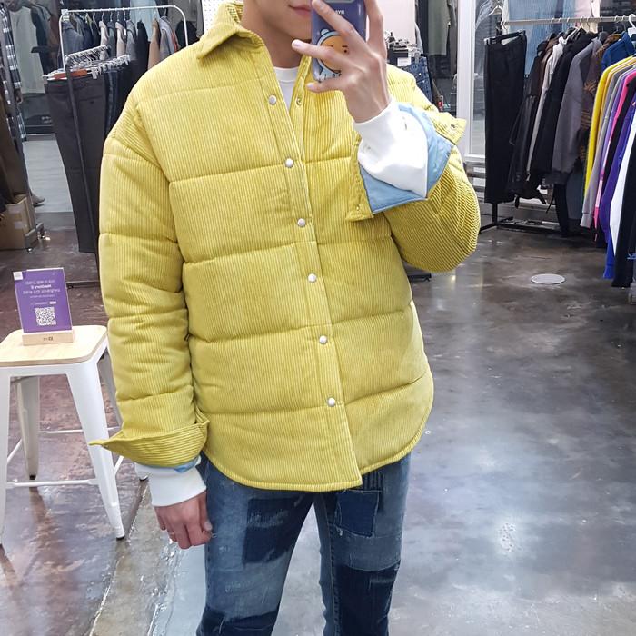 东大门韩国男装代购时尚骚气灯芯绒面料翻领蓬松棉服夹克外套秋冬