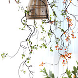 Sicily simulation green leaves cane vines hanging vine plant landscaping wall with hanging plants decorate pipeline