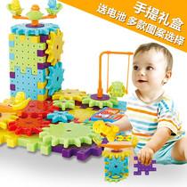 多图案儿童电动百变拼装积木动感旋转齿轮雪花片益智玩具81块