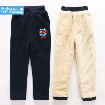 男童裤子2018新款儿童加绒裤子中大童冬季外穿加厚保暖棉裤运动裤