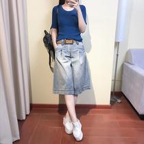 t儿童条纹短袖牛仔短裤两件套韩版套装夏季男夏装男童ra2019家za