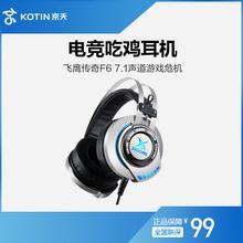 飞鹰传奇F6电脑游戏耳机头戴式电竞吃鸡耳麦台式话筒带麦 京天