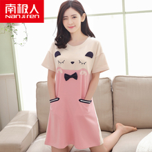 Antarctic Sleeping Skirt Female Summer Korean Edition Cotton Short Sleeve Girl Sleepwear Sweet Cute Cartoon Home Dress Dress