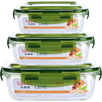 Microwave oven heating lunch box lunch box Glass lunch box crisper box set rectangular round with lid seal