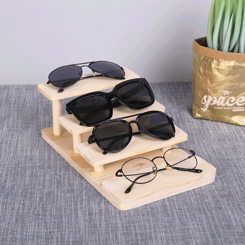 实木眼镜展示架阶梯眼镜店展示道具 松木多层半圆陈列摆放架 包邮