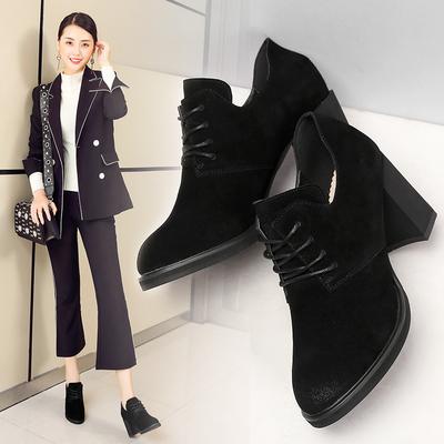 ZHR2018春季新款欧美风高跟鞋真皮女鞋百搭休闲鞋时尚粗跟单鞋女