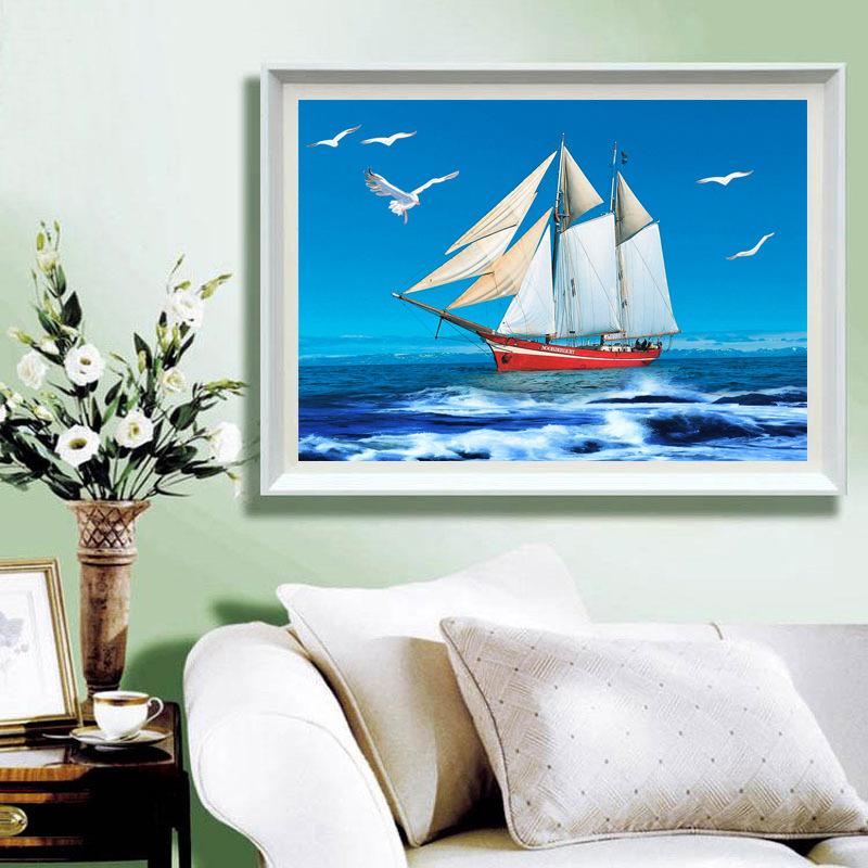十字绣客厅一帆风顺