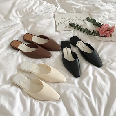 细细条 韩国简约气质低跟包头半拖鞋女春夏新款无后跟懒人穆勒鞋