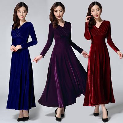 秋冬新款加厚纯色金丝绒连衣裙性感修身显瘦气质长袖裙V领长裙女