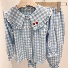 Spot Korean Imported Children's Dress Spring 2019 Girl Children's Cherry Cherry Home Dress Pyjamas Suit