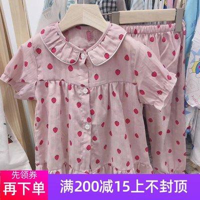 现货韩国进口童装2019夏新款女童儿童中大童草莓家居服套装睡衣