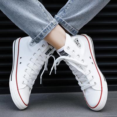 环球高帮帆布鞋男秋韩版潮流百搭休闲板鞋高邦小白鞋布鞋球鞋学生