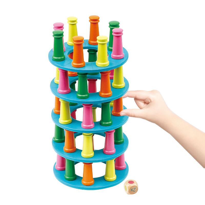 木制比萨塔叠叠高平衡益智玩具手眼协调亲子互动桌游层层叠3-8岁