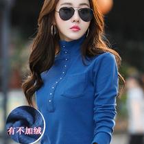 秋冬加绒加厚大码长袖女上衣保暖修身t恤女纯棉半高领针织打底衫
