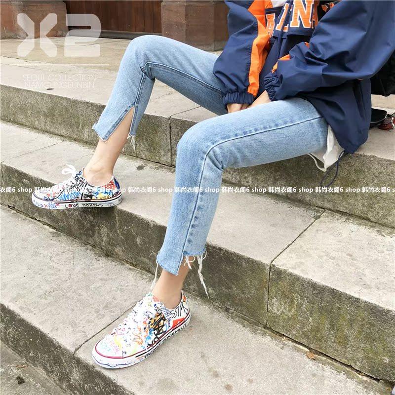 小崔家韩国东大门代购女装2018秋季新款X2高腰毛边不对称牛仔裤