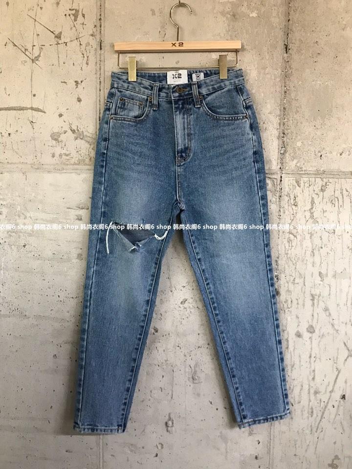 小崔家韩国东大门代购 2018秋季新款 X2 破洞常规个性洋气牛仔裤