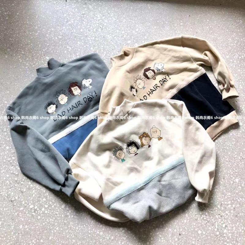 小崔家韩国东大门代购2018冬季新品gentlewoman拼接印花加绒卫衣